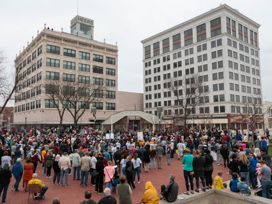 A large crowd gathers for the March For Our Lives rally