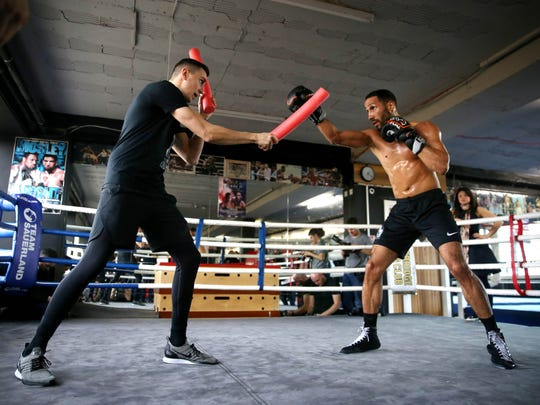 James DeGale of England works out in the ring during