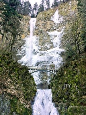 Multnomah Falls, a 611-foot-tall cascade of roaring water, is about a 30-minute drive from Portland. It is the most-visited natural recreation site in the Pacific Northwest.