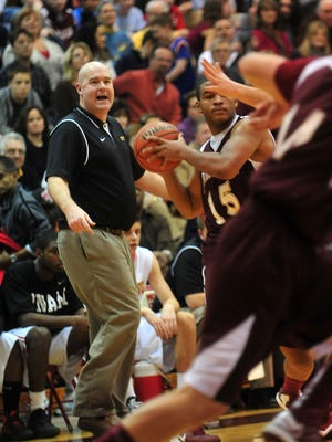 Kevin Moore, shown during a Morris County Tournament boys basketball semifinal game last season, has stepped down as Mount Olive boys basketball coach. In four seasons, Moore led the Marauders to back-to-back Morris County Tournament championships.