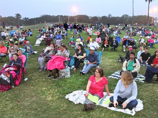 The audience waits for the beginning of the 74th Annual Easter Sunrise Passion Play in March 2016 at Cole Park in Corpus Christi.