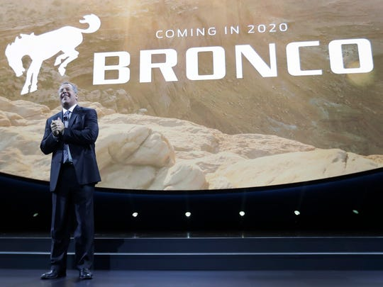 Ford Executive Vice President and President of the Americas for Ford Motor Company, Joe Hinrichs announces plans for a 2020 Bronco at the North American International Auto show in January 2017 in Detroit.