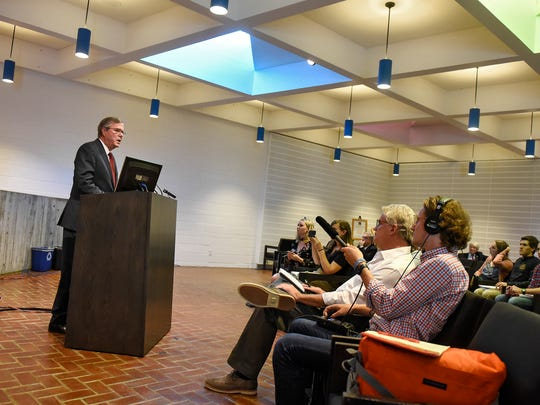 Jeb Bush speaks during a news conference Thursday, Sept. 21, at the Abbey Chapter House at St. John's University in Collegeville.
