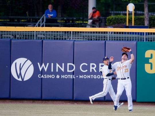 Biscuits right fielder Ryan Boldt makes a catch during the Montgomery Biscuits season home opener against the Biloxi Shuckers on Thursday, April 5, 2018.