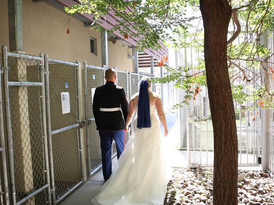 Carolyn Kirk and Cameron Grischott get married at the Nevada Society for the Prevention of Cruelty to Animals, or SPCA, building in Reno on May 24, 2018.