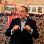 Republican presidential candidate, former Arkansas Gov. Mike Huckabee, speaks during a town hall event at the Main Street Cafe in Council Bluffs, Iowa, Wednesday, July 1, 2015.
