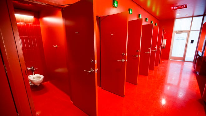 A unisex bathroom, complete with individual locking toilets at the Phoenix Theater Cultural Center, newly built at the corner of West Walnut and North Illinois Streets, Indianapolis, Friday, April 27, 2018.