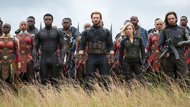 "Superheroes, assemble: Returnees for ""Avengers: Infinity War"" include Okoye (Danai Gurira), Black Panther (Chadwick Boseman), Captain America (Chris Evans), Black Widow (Scarlet Johansson) and the former Winter Soldier (Sebastian Stan)."