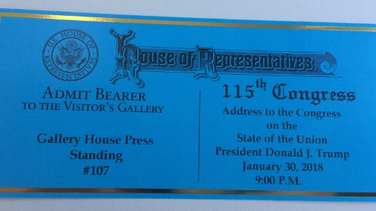 My ticket to the 2018 State of the Union Address.