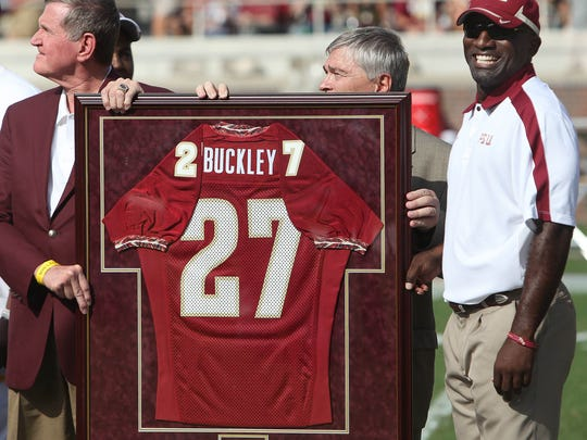 FSU retired the jersey of former player Terrell Buckley during a halftime ceremony against Louisiana Monroe on Saturday, September 3, 2011.