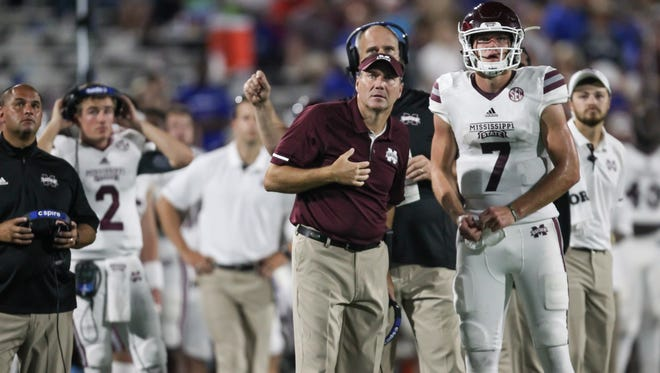 Dan Mullen and Mississippi State's Nick Fitzgerald (7) watch the replay. The call was overturned for a touchdown. Mississippi State and Louisiana Tech played in a college football game on Saturday, September 9, 2017 at Joe Aillet Stadium in Ruston, La. Photo by Keith Warren (Mandatory Credit)