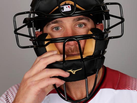 The D-Backs' Jeff Mathis at Photo Day.