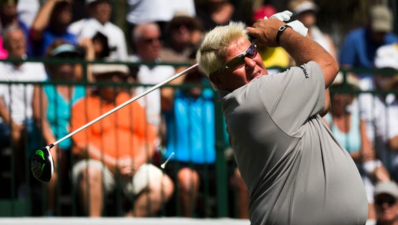 John Daly tees off from the first hole of the afternoon