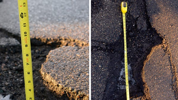 Pothole on Pennsylvania Avenue by Pershing Drive in Lansing.
