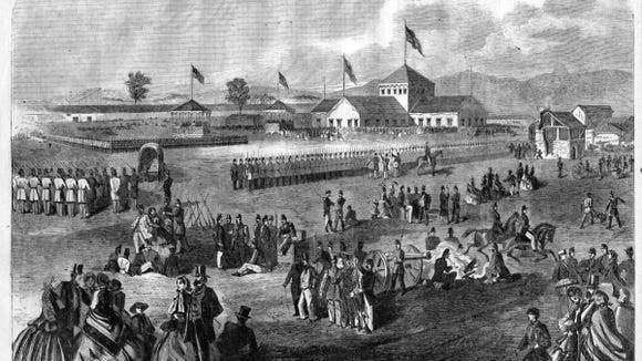 Camp Scott, adapted from Harper's Weekly, May 1861