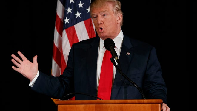 Republican presidential nominee Donald Trump speaks during a town hall with the Retired American Warriors in Herndon, Va.