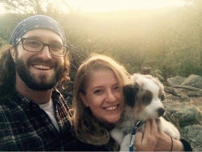 Matt Adams, Heather Starbuck and their dog, Theo, together