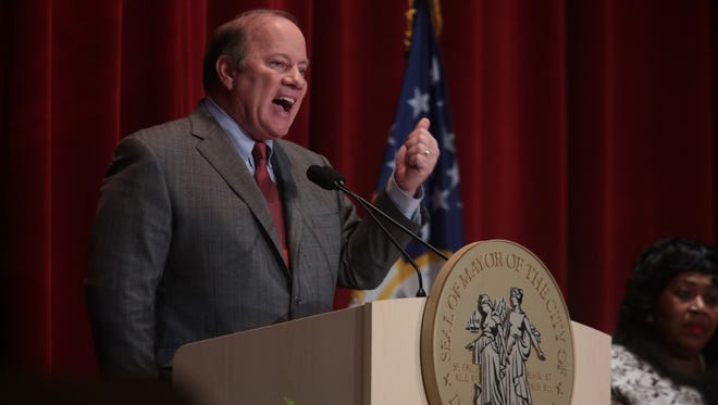 Detroit Mayor Mike Duggan gives his second State of the City address at the Old Redford Theatre in Detroit on Tuesday Feb. 10, 2015.