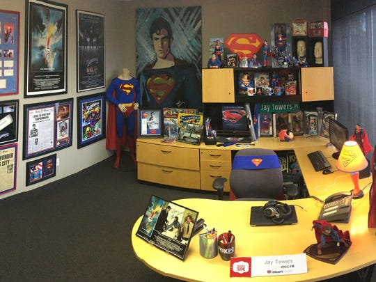 Office of Jay Towers is filled with Superman memorabilia.