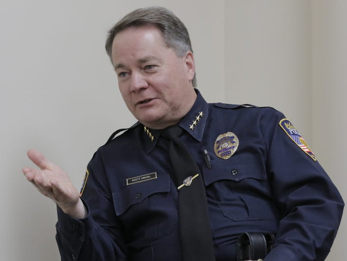 Oshkosh Police Chief Scott Greuel talks with USA TODAY