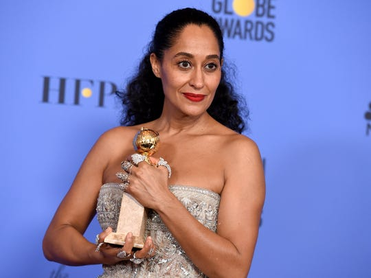 Tracee Ellis Ross poses in the press room with the