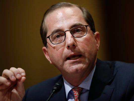 Alex Azar testifies during a Senate Finance Committee hearing on Capitol Hill in Washington, Tuesday, Jan. 9, 2018, to consider his nomination to be Secretary of Health and Human Services.
