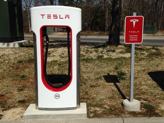 A vehicle charging station for Tesla automobiles opened