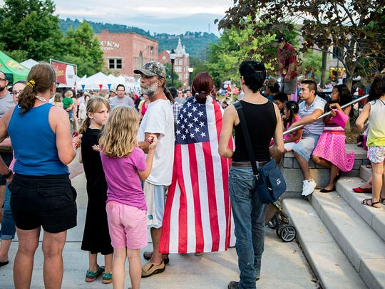 Thousands gathered in Pack Square July 4, 2016 for