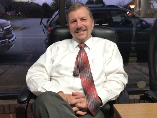 Liberty's newly elected mayor, Brian Petersen, in his office on Front Street.
