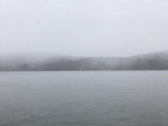 Spring snow falling in Greenwood Lake, N.Y. April 30,