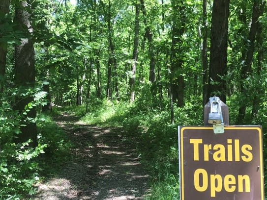 A trail head at Elk Rock State Park near Otley is shown