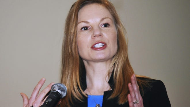 Democratic state Auditor Nicole Galloway speaks in 2019 Jefferson City. Galloway and Republican Gov. Mike Parson have agreed to a Missouri Press Association-sponsored debate and Galloway is seeking three more debates in the race for governor.