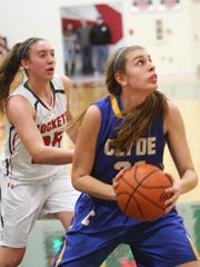 Clyde's Bree Dowling drives against Oak Harbor during the regular season.