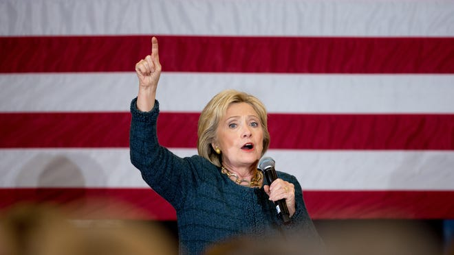 Democratic presidential candidate Hillary Clinton speaks at a rally at BR Miller Middle School in Marshalltown, Iowa, Tuesday.