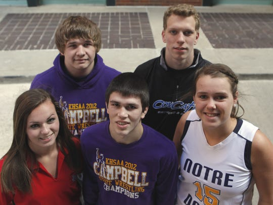 Winter all-stars included from left: Back, state wrestling champion Austin Myers of Campbell County and Max Williamson of Covington Catholic; front, Katlyn Hoeh of Newport, state wrestling champ Sean Fausz of Campbell County and Olivia Voskuhl of Notre Dame. Tony Jones/The Community Recorder Prepwinterallstars 0428 Sports Back left, Austin Myers, Campbell County, Max Williamson, CovCath, front row, left Katlyn Hoeh, Newport, Sean Fausz, Campbell County, Olivia Voskuhl, Notre Dame is a Cincinnati Enquirer Winter prep all-stars from Kentucky. April 20, 2013 The Enquirer/ Tony Jones