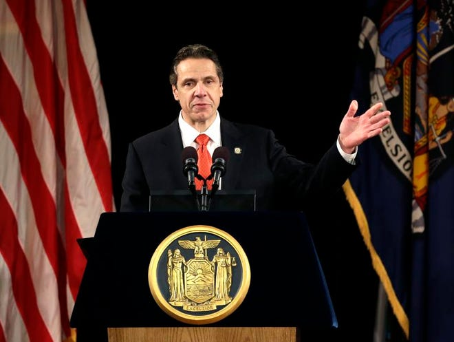New York Gov. Andrew Cuomo delivers his annual State of the State address at the Empire State Plaza Convention Center on Wednesday, Jan. 8, 2014, in Albany.