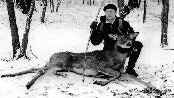 "Roy Case, the ""father"" of Wisconsin bowhunting, arrowed this spike buck in 1930, the first archery-killed deer of the modern era."