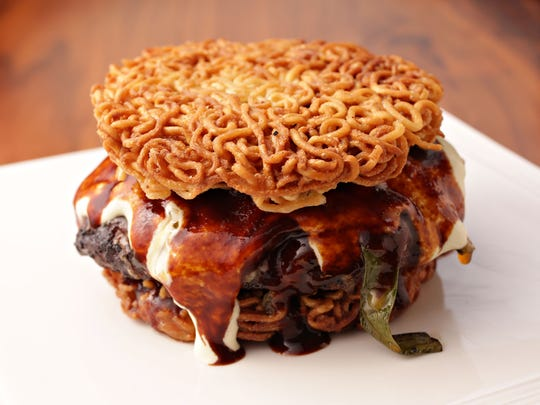 The ramen burger from Bitter and Twisted Cocktail Parlour in Phoenix.
