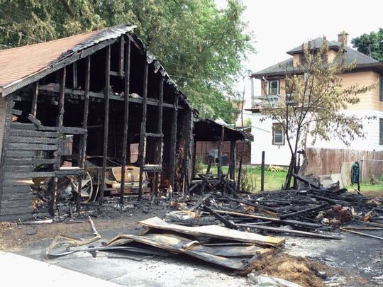 The scene following a garage fire at 822 Oakland Friday August 19, 2016 in Sheboygan.