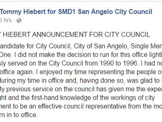 Tommy Hiebert, candidate for San Angelo City Council SMD 1 set, shares a statement on social media.