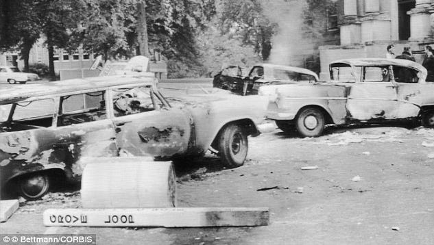 Carnage left from the riot at the University of Mississippi after the 1962 admission of James Meredith.