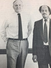 Jack Hopgood, left, had been Morganfield Post Master for 19 years when he left the city temporarily in March 1984 to be in charge of the Murray Post Office. His replacement was Charlie Carvin, right, who had been with the postal service for 16 years.