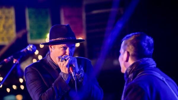 The Tangiers Blues Band with Danny Clinch played at the Stone Pony, Asbury Park, NJ, as part of Film Fest weekend. Here, Danny Clinch plays the harmonica. / Russ DeSantis for the Asbury Park Press / Slug:ASB 0410 Performances