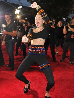 Miley Cyrus arriving at the MTV Video Music Awards on Aug. 25.