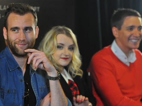"From left: actors Matthew Lewis, Evanna Lynch, and Oliver Phelps, answer questions from the media.  Universal Orlando hosted ""A Celebration of Harry Potter,"" an event featuring items from the film franchise and news about the latest ""Harry Potter"" expansion at Universal Orlando."