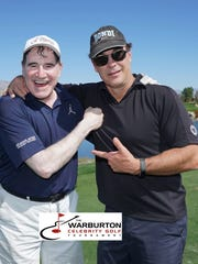 Richard Kind and Patrick Warburton clown around at the Classic Club during The Warburton golf tournament.
