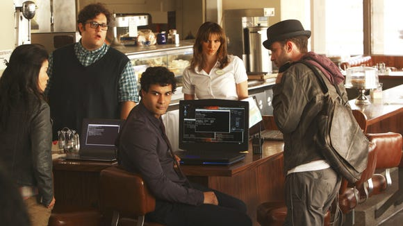 "Elyes Gabel (center) stars in CBS' ""Scorpion"" as the leader of a group of Homeland Security nerds played by (from left) Jadyn Wong, Ari Stidham, Katharine McPhee and Eddie Kaye Thomas. ""Scorpion"" premieres  9 p.m. Monday, Sept. 22.  Provided/CBS."