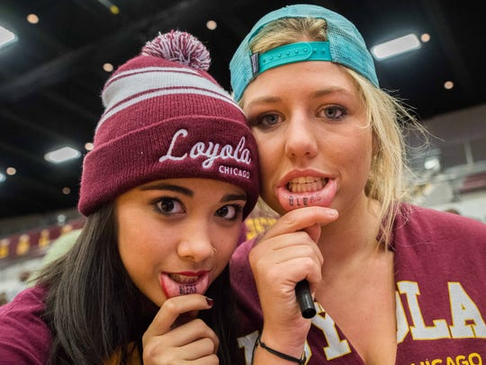 Loyola Ramblers fans celebrate at Gentile Arena.