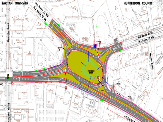 Rendering of proposed Flemington Circle work to add bypass lanes on Route 202 North and Route 31 South.