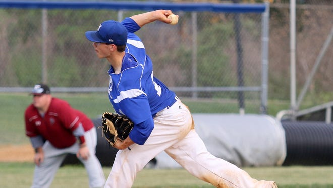 Jake Burlingame delivers a pitch for Horseheads in a victory over Elmira last season.